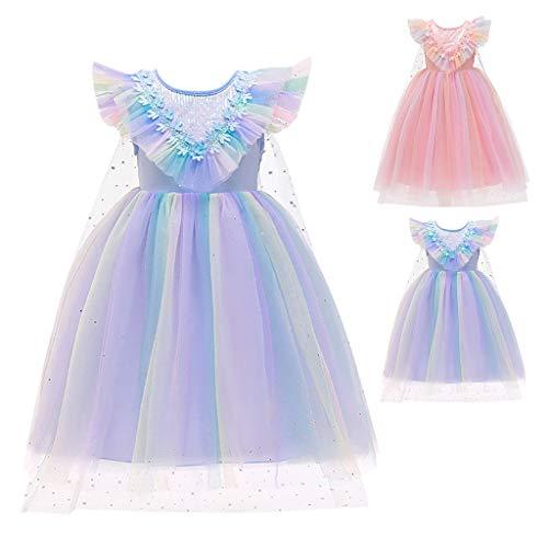 BOIYI Disfraz de Princesa Chicas Fancy Vestido Princesa Flor Desfile de Nios Vestido de Cosplay de Carnaval, Halloween y la Fiesta de Cumpleaos Vestidos Vestido de Fiesta con Capa(Rosa,110)