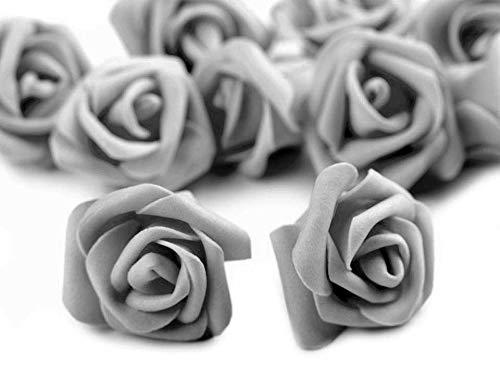 10 Deko-Rose Rosenblüte Rosenkopf 4cm Foamrosen Schaumrosen, Farbwahl, Farbe:hellgrau