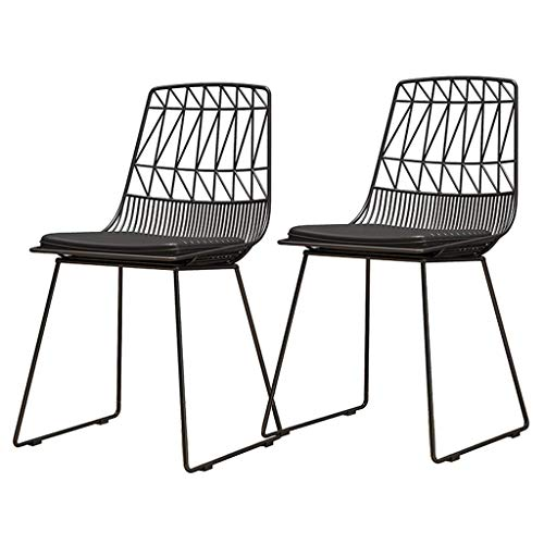Set of 2 Dining Chair Metal Iron Art Hollow Modern Cafe Chair PU Leather Upholstered Cushion Living Room Balcony