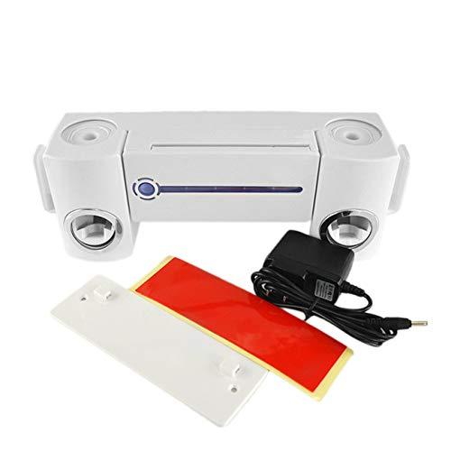 JIUY Práctica Antibacterial luz Ultravioleta UV Cepillo de Dientes Dispensador esterilizador de baño Cepillo de Dientes Titular Limpiador con 2 Tazas (Blanco)