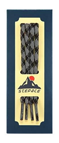 Stepace Cordones Redondos para Botas de Senderismo y Montaña, Trekking Zapatos, 15 Colores, 100-180cm, 5.5mm Diámetro Dark Gray Black-100