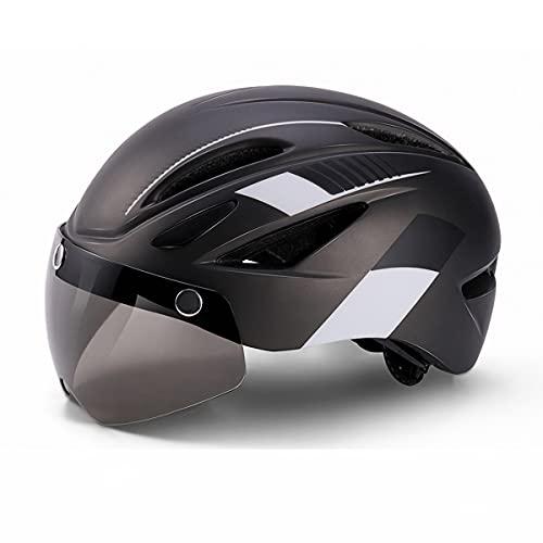 Casco Bicicleta Adulto Cascos de Ciclismo para Adultos con Gafas Desmontables y Luz Trasera LED Recargable Casco Bici Ligero Unisex Protección de Seguridad para Montar Carretera (Negro , 57-66CM)