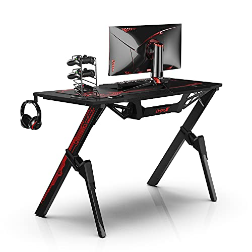 Dripex Ergonomischer Gaming Tisch, Schreibtisch Gaming mit Großer Oberfläche, Kohlefaser-Desktop, mit Getränke-, Gamepad- und Kopfhörerhalter, 110x75x55cm