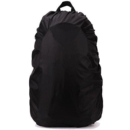 TININNA 70L Wasserdichter Regenhülle Regenabdeckung Regenüberzug Regencover Regenschutz Regenhaube für Rucksack schwarz EINWEG Verpackung