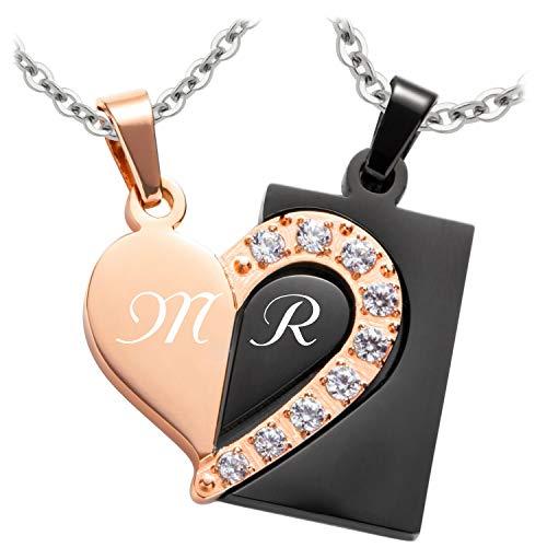 Schmuck-Pur Partner-Ketten mit Laser-Gravur Herz-Anhänger rose/schwarz Kristalle Edelstahl 2 Halsketten 45/50 cm