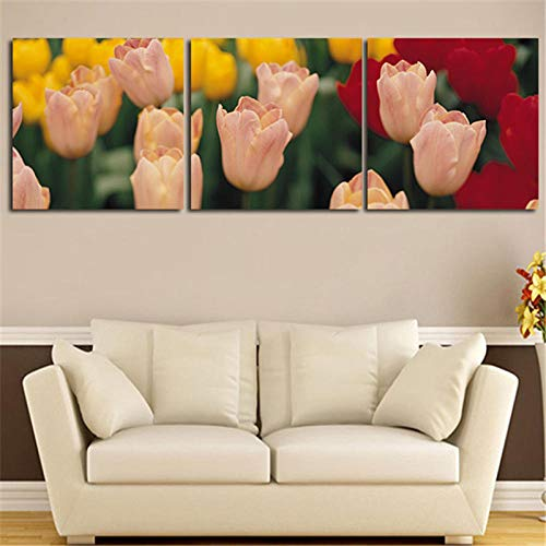 wekeke Imágenes de Lienzo Flor de tulipán Pintura de Pared decoración del hogar imágenes artísticas Impresas en Lienzo para Sala de estar-40X40Cmx3 Piezas sin Marco