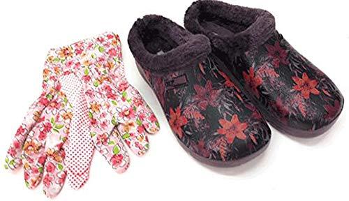 Trachten-Dirndl-More - Zoccoli e pantofole da donna con i guanti da giardino abbinati, fiori bordeaux con pelliccia, Rosso (bordeaux), 38 EU