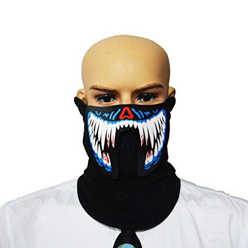 LED Luminous Flashing Gesichtsmaske Party Masken-Voice & Sound-Aktiviert, Atmungsaktiv, Leichtgewicht - Perfekt für Halloween, Partys, Raves, Musikfestivals, Reiten & Snowboarden (A2)