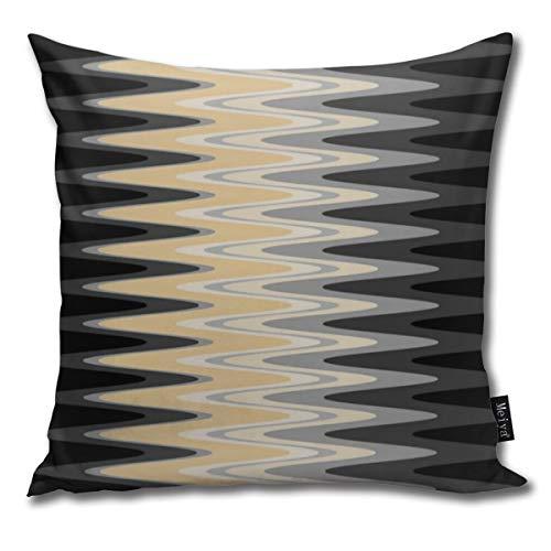 Funda de almohada Zig Zag negro amarillo gris patrón decorativo funda de cojín para habitación, dormitorio, habitación, sofá, silla, coche, 50,8 x 50,8 cm