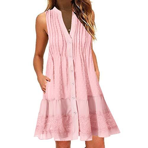 LOPILY Boho Spitzenkleid Damen Große Größen Quaste Kleid mit Rüschen Saum Hippie Kleid Aushöhlen Gepunktes Kleid Boho Minikleid Festliches Kleid Ärmelloses Strandkleid mit Knopfleiste (Rosa, 38)