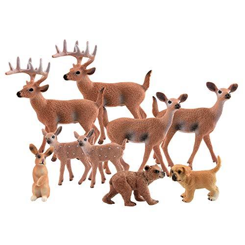TUPARKA 9Pcs Forest Animals Set  Miniature Figures Woodland Animals Deer Figurine  Dog  Rabbit  Bear Figure Miniature Animals Woodland Cake Toppers