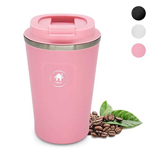 homeAct Thermobecher Kaffeebecher für unterwegs Coffee to go 380ml | 100% auslaufsicher aus Edelstahl mit Doppelwand Isolierung | BPA freier Travel Mug für Kaffee oder Tee (Rosa)