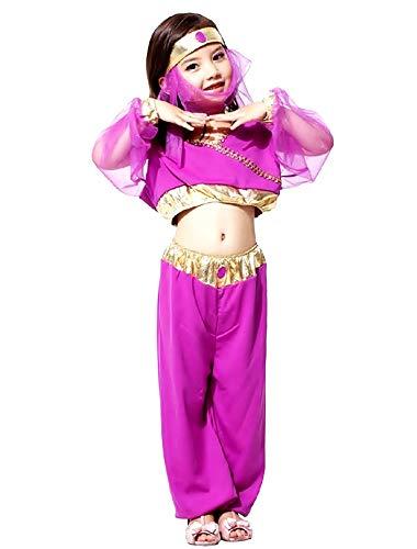 Disfraz de odalisca - árabe - disfraces para niños - halloween - carnaval - bailarina del vientre - color morado - niña - talla m - 4/5 años - idea de regalo original