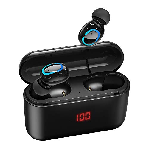 True Wireless Earbuds Bluetooth 5.0 Headphones, with Smart LED Display Charging Case Waterproof Easy-Pairing TWS Stereo Headphones in-Ear Built-in Mic Headset Premium Deep Bass for Sport Black