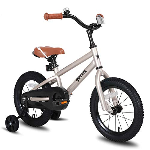 JOYSTAR 14 Inch Kids Bike for 3 4 5 Years Boys, Kids Bicycle with Training Wheel & Coaster Brake, 85% Assembled, Silver
