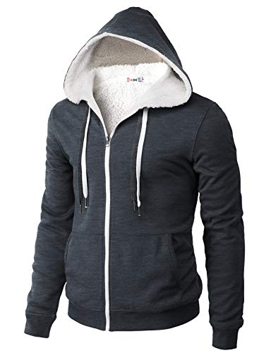 H2H Mens Casual Zip up Hoodie Jacket Double Cotton Faux Fur Inside HEATHERNAVY US M/Asia L (CMOHOL073)