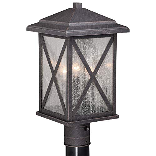 VAXCEL Bronze Outdoor Post Light - Dusk to Dawn Post Light, Outdoor Lamp Post Light Fixture Photocell Sensor, Rust Iron Bronze with Clear Seeded Glass Panels for Driveway, Backyard, Street Lighting