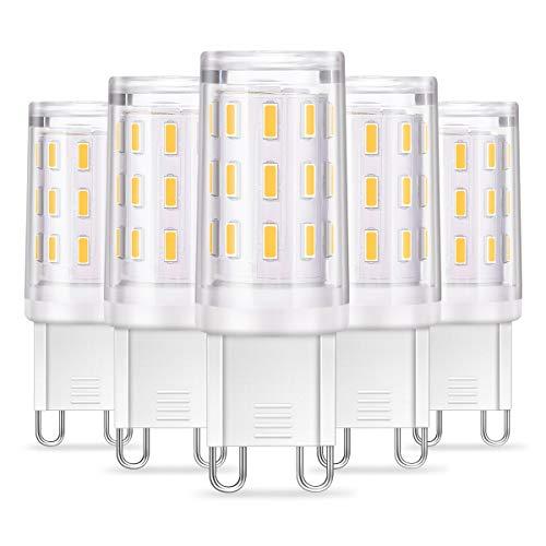 KINGSO 5 Pack Lampadina LED G9 4W Risparmio energetico equivalente 40W Lampada alogena/incandescenza Mais Angolo 360 ° AC220-240V 350LM Bianco caldo 3000K Camera da letto Soggiorno Cucina Giardino