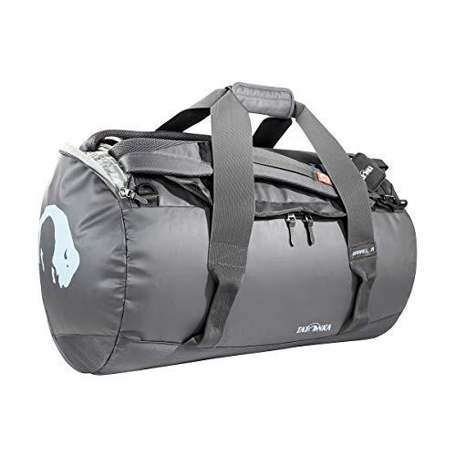 Tatonka Barrel M Reisetasche - 65 Liter - wasserfeste Tasche aus LKW-Plane mit Rucksackfunktion und großer Reißverschluss-Öffnung - Rucksacktasche - unisex - grau