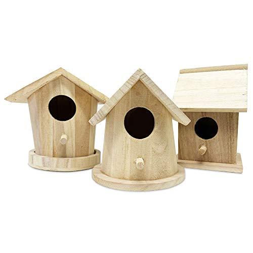 3 Wooden Birdhouse for Crafts (Set 2) Unfinished Natural...