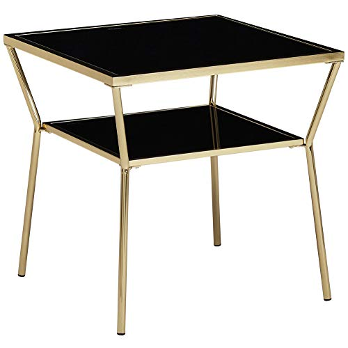 Wohnling Design salontafel glas zwart 2 niveaus goud metalen frame | woonkamertafel | bijzettafel | glazen tafel vierkant