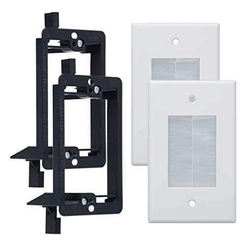 1 Gang Wall Plate with Low Voltage Mounting Bracket, Brush Type,1 Piece Style, for HDTV, Computer, Home Theater System Cable Pass (White, 2 Pack)