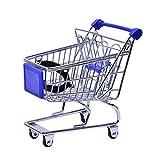 Rtengtunn Mini Carro de Compras, Mini supermercado Trolley de Mano Carrito de Compras Carrito de Almacenamiento Cesto para niños - Azul