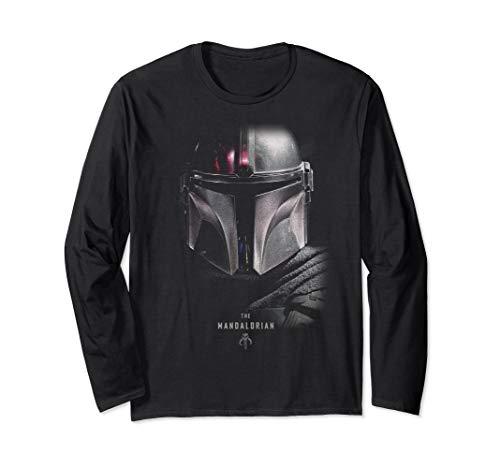 Star Wars The Mandalorian Big Face Poster Langarmshirt