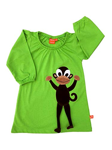 Lipfish Robe à Manches Longues avec des Animaux appliqués, Dessin Suédois, 100% Coton, Green Monkey, 2 Ans.
