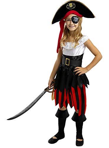 Funidelia | Disfraz de Pirata - Colección bucanero para niña Talla 3-4 años ▶ Corsario, Bucanero - Color: Negro - Divertidos Disfraces y complementos para Carnaval y Halloween