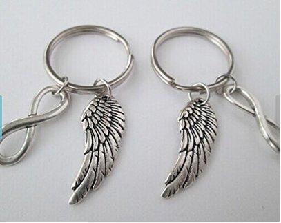 2 ailes d'ange et infinity, porte-clés de l'amitié