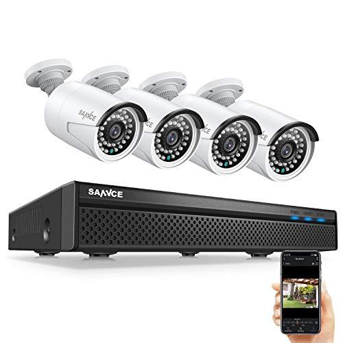 SANNCE 5MP POE Kit di Sorveglianza 8 Canali NVR H.264 Compressione video con 4 Telecamera di Videosorveglianza 5MP Resistente alle Intemperie e LED IR Senza HDD