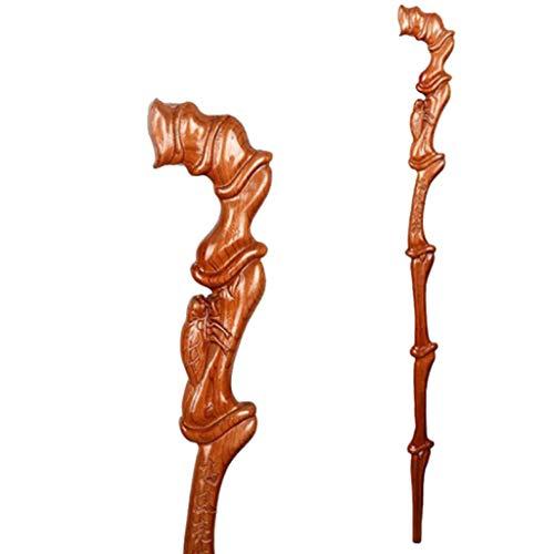 LWXTY wandelstok, massief hout met antislip rubberen kop kruk, comfortabel handvat hand gesneden lichtgewicht draagbare stabiel en duurzaam, voor wandelen en bergbeklimmen