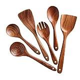 CANCYCC Juego de 6 utensilios de cocina antiadherentes, espátula de madera de mango largo, utensilios de cocina para agitación de alto calor en sartenes antiadherentes y uso diario.