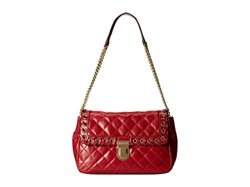 """Genuine quilted leather; gold tone hardware Push lock closure; exterior pocket at back with magnetic snap closure Adjustable chain and leather strap with 9 1/2"""" - 16"""" drop Interior features center zip divider compartment; back wall zip pocket; 6 card..."""