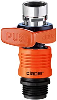 Claber 8587 Quick-Fit Tap Connector Set Indoor Faucet Adapter, Black/Orange
