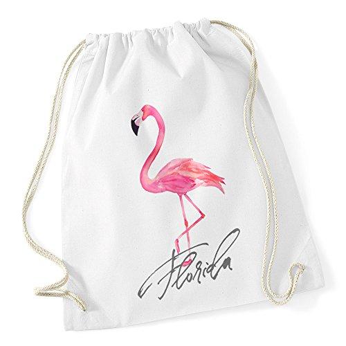 Autiga Flamingo Turnbeutel Seepferdchen Watercolor Weiss - Flamingo Unisize