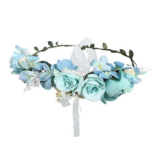 AWAYTR Couronne de bohème Fleur Couronne de pin exquise Fleur de baies Serre-tête Fleur Halo Couronne bleu ciel