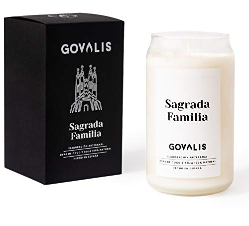 GOVALIS Scented Candle | Sagrada Familia de Barcelona | Soy & Coconut Wax 100% Natural - Candles Souvenirs Relaxation Memories Decorative Yoga Birthday Original Gifts - 70-90 h - 390 g
