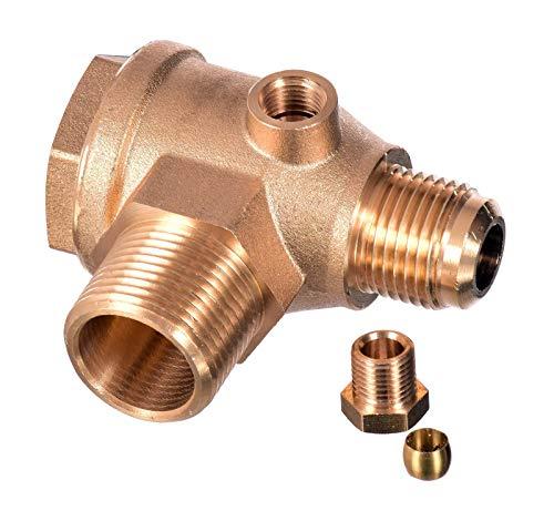 Rückschlagventil 3/4 x 1/2 (26mm x 20mm) Luftkompressor Messing Ventil Verbinder Werkzeug Luft Kompressor zum Verbinden