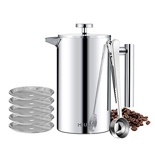 MaxMiuly French Press 1L/8 Cup Cafetiere Stainless Steel Coffee Press Double Wall Sliver Coffee Maker Insulated Coffee Pot with 8 Additional Coffee Set