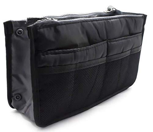 fenrad Doppel-Reißverschluss Multifunktions Handtaschenordner Handtasche Organizer Reisetasche Trading Tasche (Rot) (Schwarz)