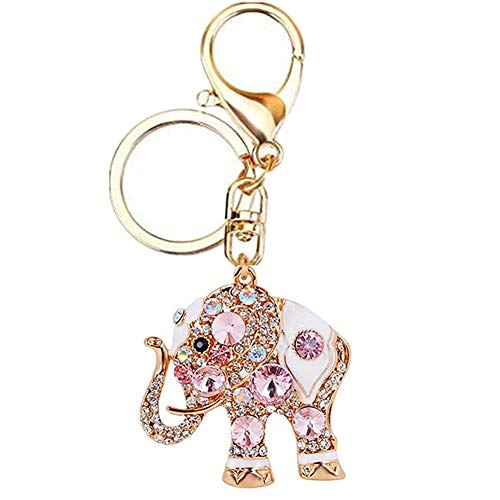 Lucky Elephant Keyrings MUAMAX Opal Rhinestone Cute Elephants Keychains Womens Purse Charm Crystal Key Chain Ladies Bag Pendant (Pink)