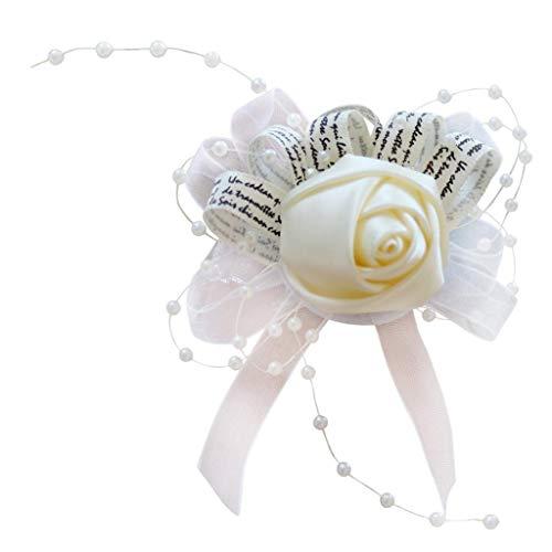 non-brand Seiden Blumen Handgelenk Blumenarmband Armreife Hochzeit Armschmuck für Braut und Brautjungfer - Sahne