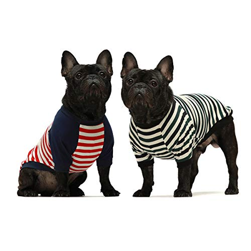 Fitwarm 2-Pack 100% Cotton Striped Dog Shirt for Pet Clothes Puppy T-Shirts Cat Tee Breathable...