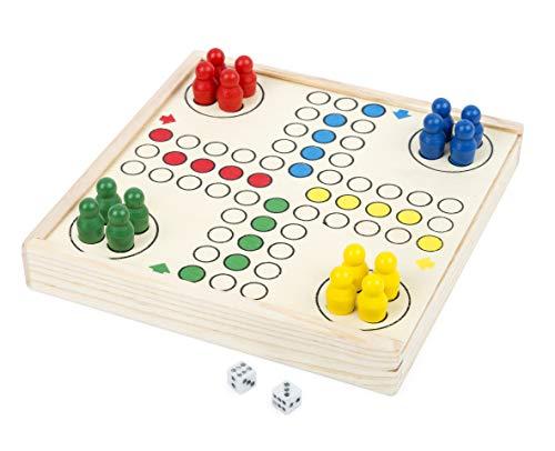 Small Foot Ludo to go, jeu de société dans Une boîte en Bois Pratique, Jeu de Divertissement en Route, 3 Ans +, 11210, Multicolore - Version Allemande