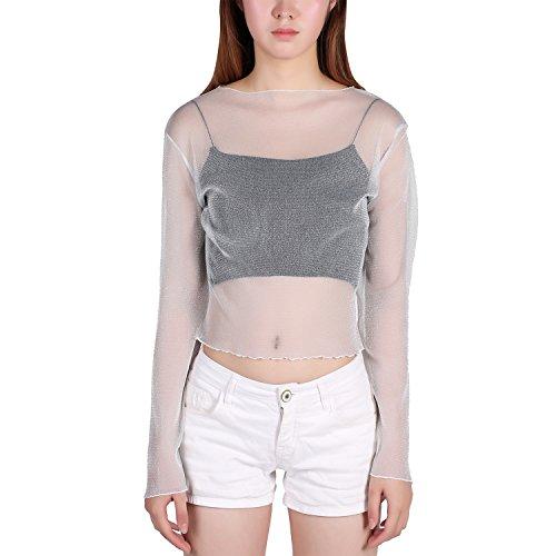 Petalum Damen Shirt Langarm Spitze Bluse Durchsichtig Transparent Wetlook Clubwear Partywear Streetwear Top Oberteil (Weiß)