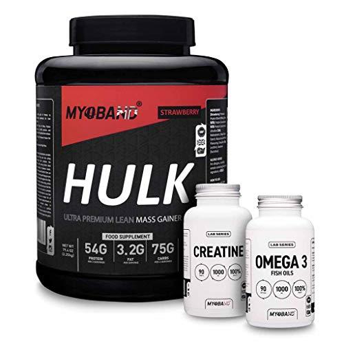 Myoband Mass to Hulk Pack containing 1 X Hulk Lean Mass Gainer, 1 X Lab Series Creatine, 1 X Lab Series Omega 3 (Strawberry)