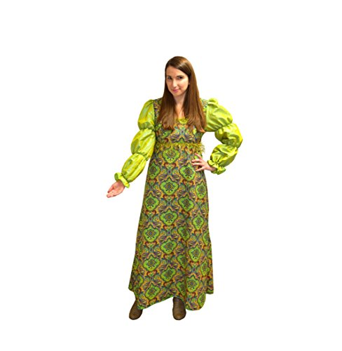 Krause & Sohn Disfraz medieval para mujer, talla 36 - 46, color verde y dorado