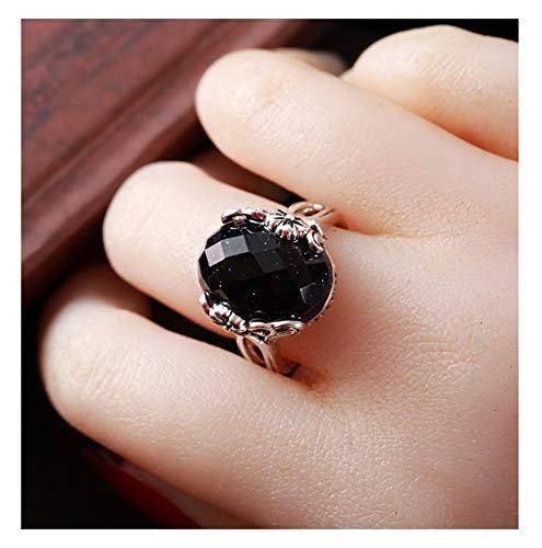 CHXISHOP Anillo de plata de ley 925 con piedras preciosas grandes, anillo de compromiso de plata de ley con apertura ajustable, joyería de plata para novia negra, talla única